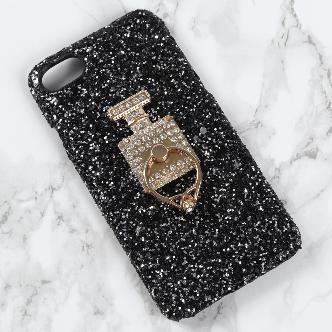 【送料無料】グリッターハードケース&香水ボトル&バンカーリング iPhoneケース