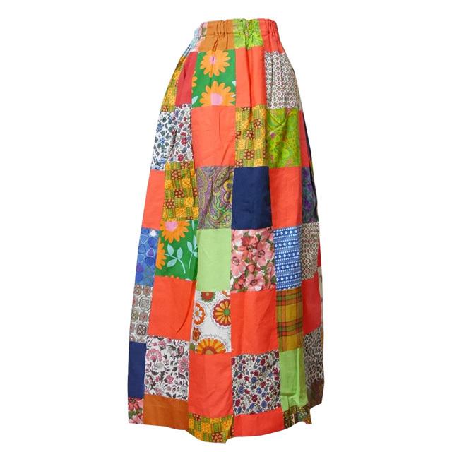 ≪USED≫パッチワークフレアロングスカート