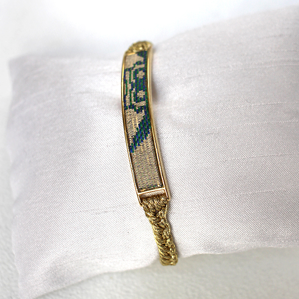 西陣織「金襴」ブレスレット ベージュ×ブルー01
