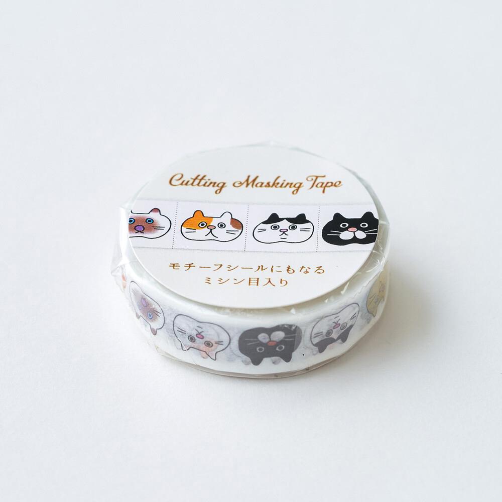 猫マスキングテープ(ニャンコかお)幅10mm