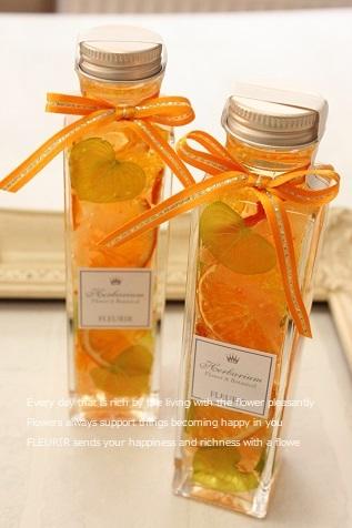 ハーバリウム オレンジ/角瓶M