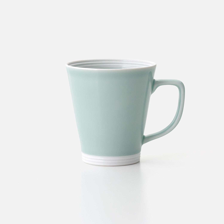 青磁白彩 広口長マグカップ