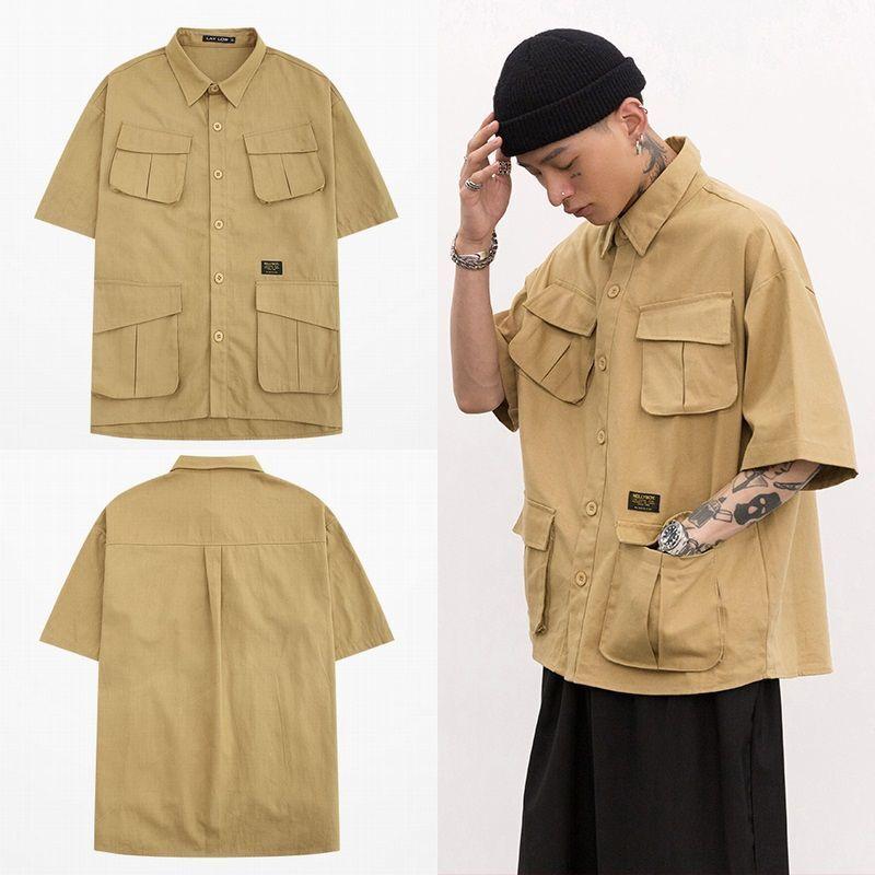 ユニセックス ワークシャツ 半袖 メンズ レディース Vネック ポケット パッチ オーバーサイズ 大きいサイズ ルーズ ストリート