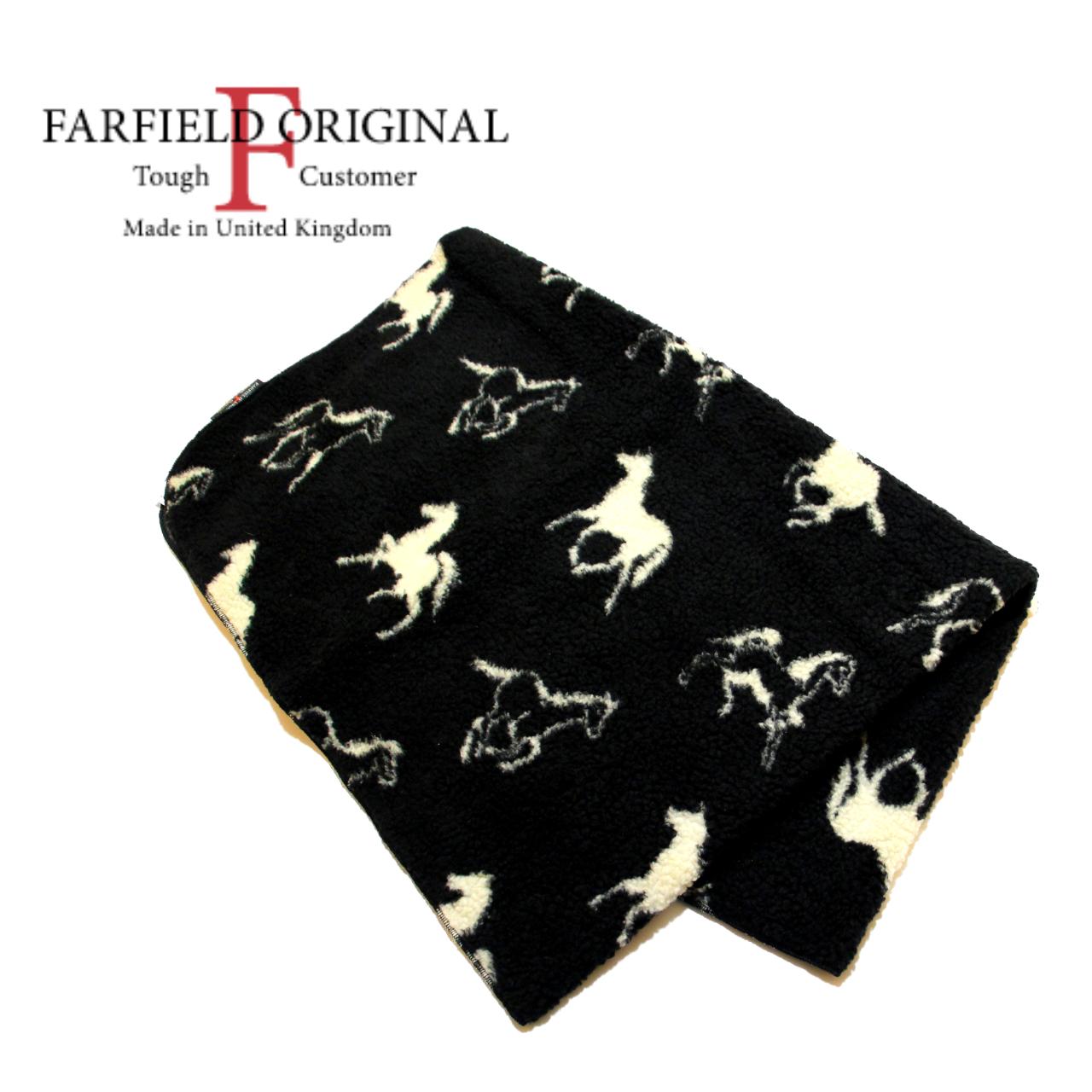 FARFIELD ORIGINAL 馬柄 フリース ブランケット 〈Black〉