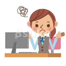イラスト素材:パソコンの前で困っているOL・事務職の女性(ベクター・JPG)
