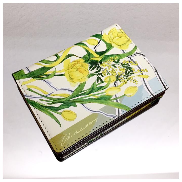 黄色のチューリップ柄「happyness of yellow」カードケース