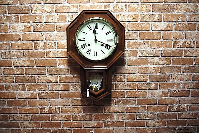 品番0483 ヴィンテージ  掛時計 振り子時計 ゼンマイ付 011