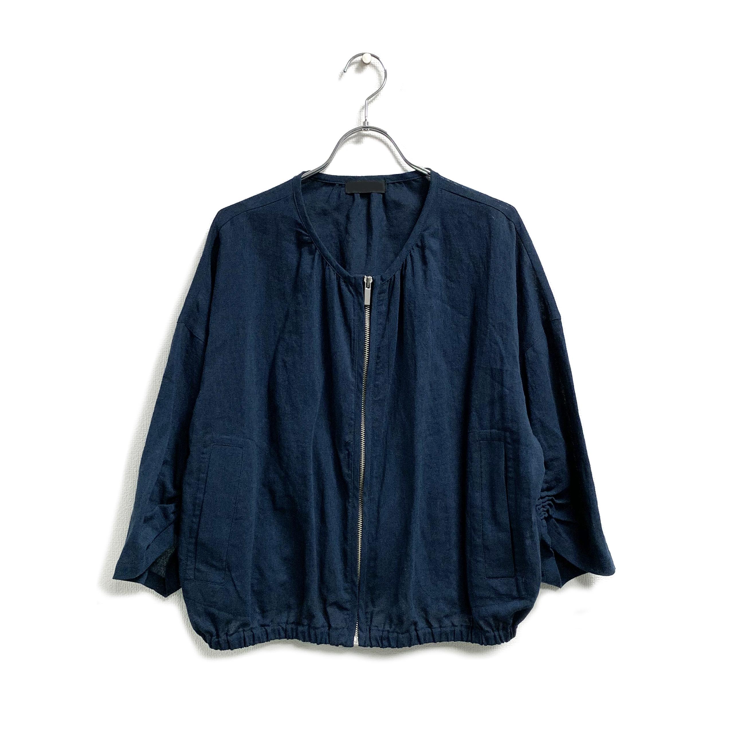 綿麻レーヨンポプリン・袖ギャザーブルゾン羽織