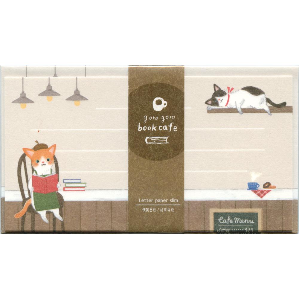 猫レターセット(ごろごろブックカフェ)一筆箋セット