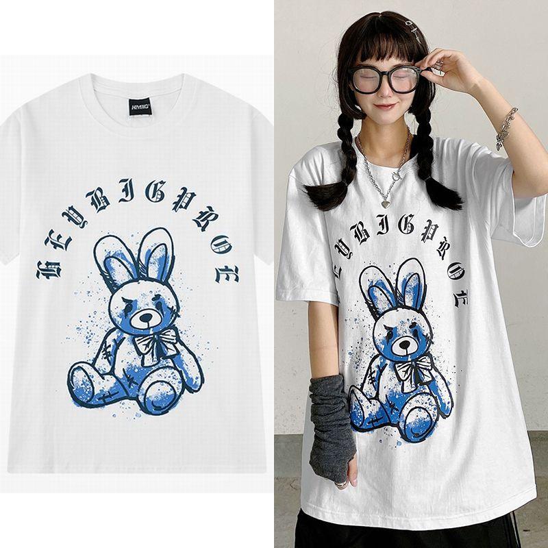 ユニセックス Tシャツ 半袖 メンズ レディース ラウンドネック 落書き ぬいぐるみ ウサギ ラビット プリント オーバーサイズ 大きいサイズ ルーズ ストリート