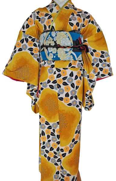 レンタル着物315-1「パーティーきものレンタル」和風館濃い上品な黄色に小さな可愛い椿の柄【往復送料無料】 - 画像3