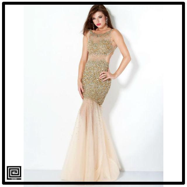 ゴールドスパークルプロムマーメイドロングドレス