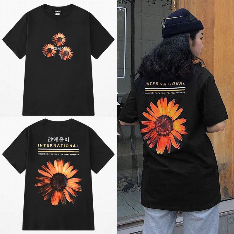 ユニセックス 半袖 Tシャツ メンズ レディース ハングル語 ひまわり フラワープリント バックプリント オーバーサイズ 大きいサイズ ルーズ ストリート