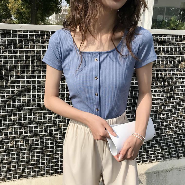 【送料無料】タイトなサイジング ♡ シンプル きれいめ リブ 半袖 Tシャツ カットソー