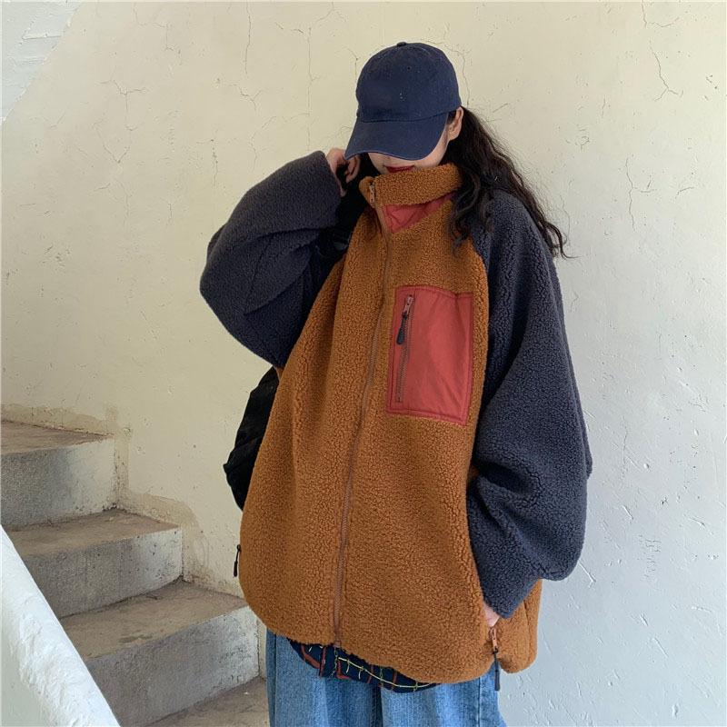 【送料無料】ボリューム ボア ♡ カジュアル 配色 オーバーサイズ スタンドカラー ブルゾン ジャケット コート アウター