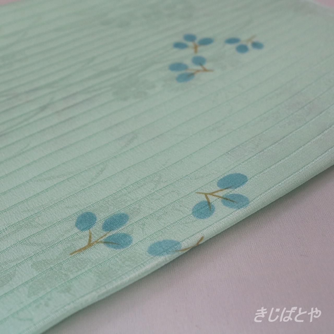 正絹絽 萩の柄の帯揚げ 秘色(ひそく)