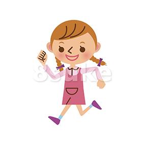 イラスト素材:元気に走る女の子(ベクター・JPG)