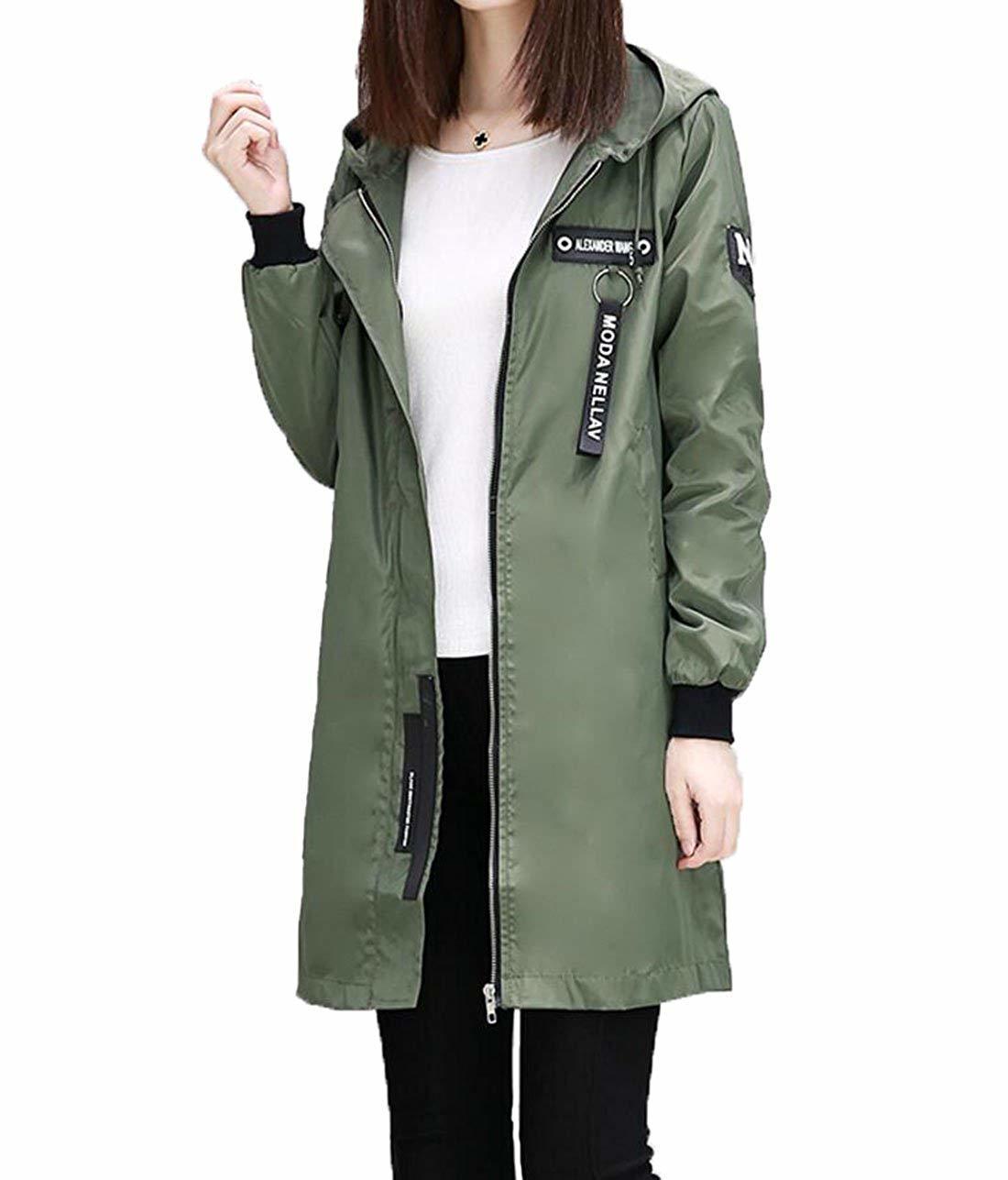 S-XINYスプリングコート レディース ジャケット 薄手 ロング コート 春 防風 通勤 通学 大きいサイズ グリーン