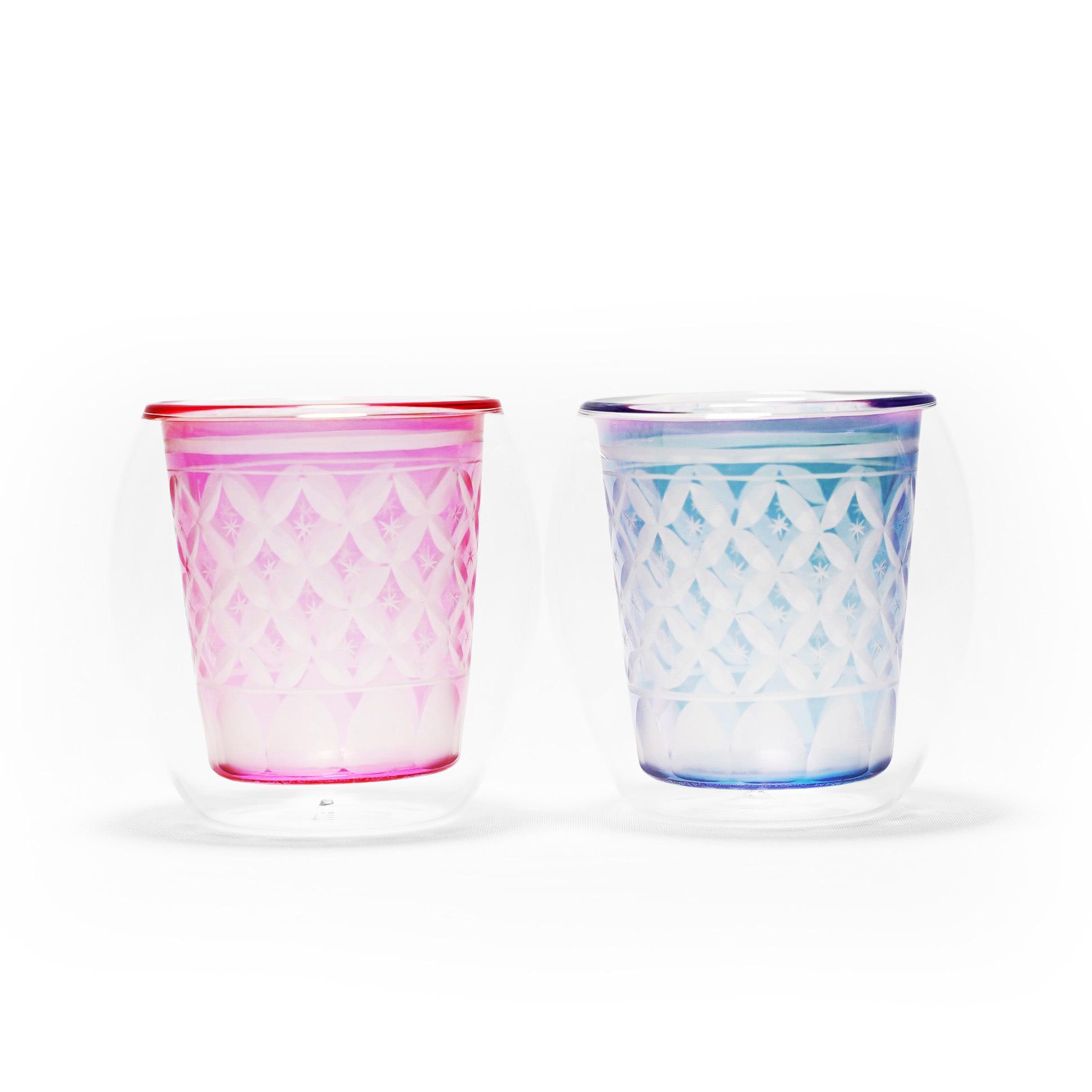 切子×ダブルウォールグラス「Fuwan-浮碗」/ 金赤・瑠璃