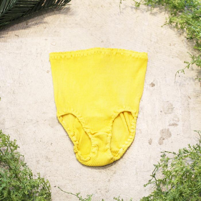 マリーゴールド染めオーガニックコットン100%リブショーツ~黄檗色(きはだいろ)~