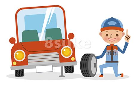 イラスト素材:タイヤ交換をする自動車整備士とジャッキアップされた車(ベクター・JPG)