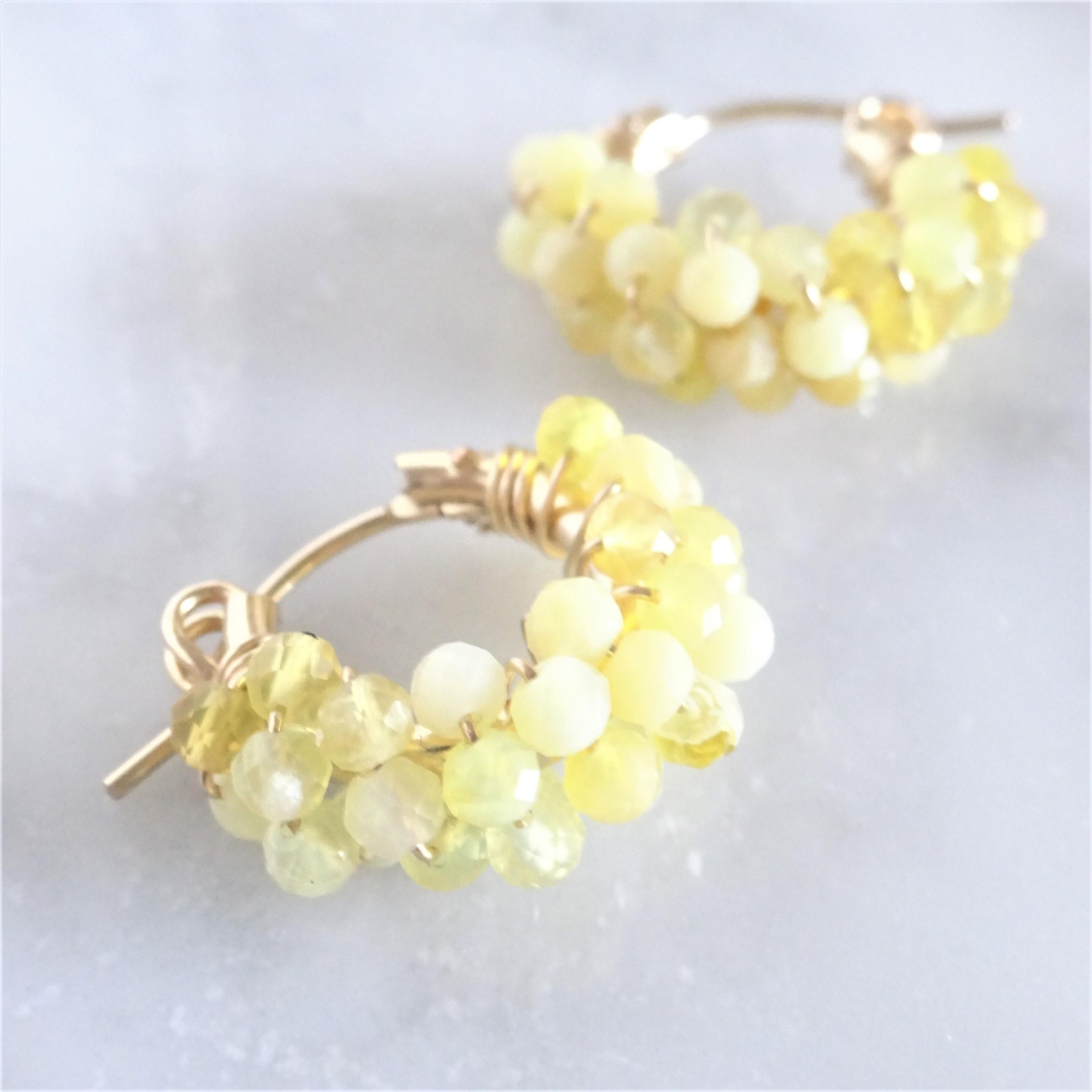 14kgf*Yellow Opal pavé pierced earring / earring