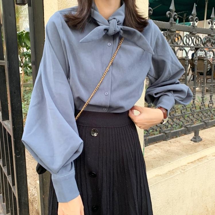 【送料無料】 ボリューム袖が魅力的♡ レトロ ランタンスリーブ 蝶ネクタイ風 リボンタイ ブラウスシャツ