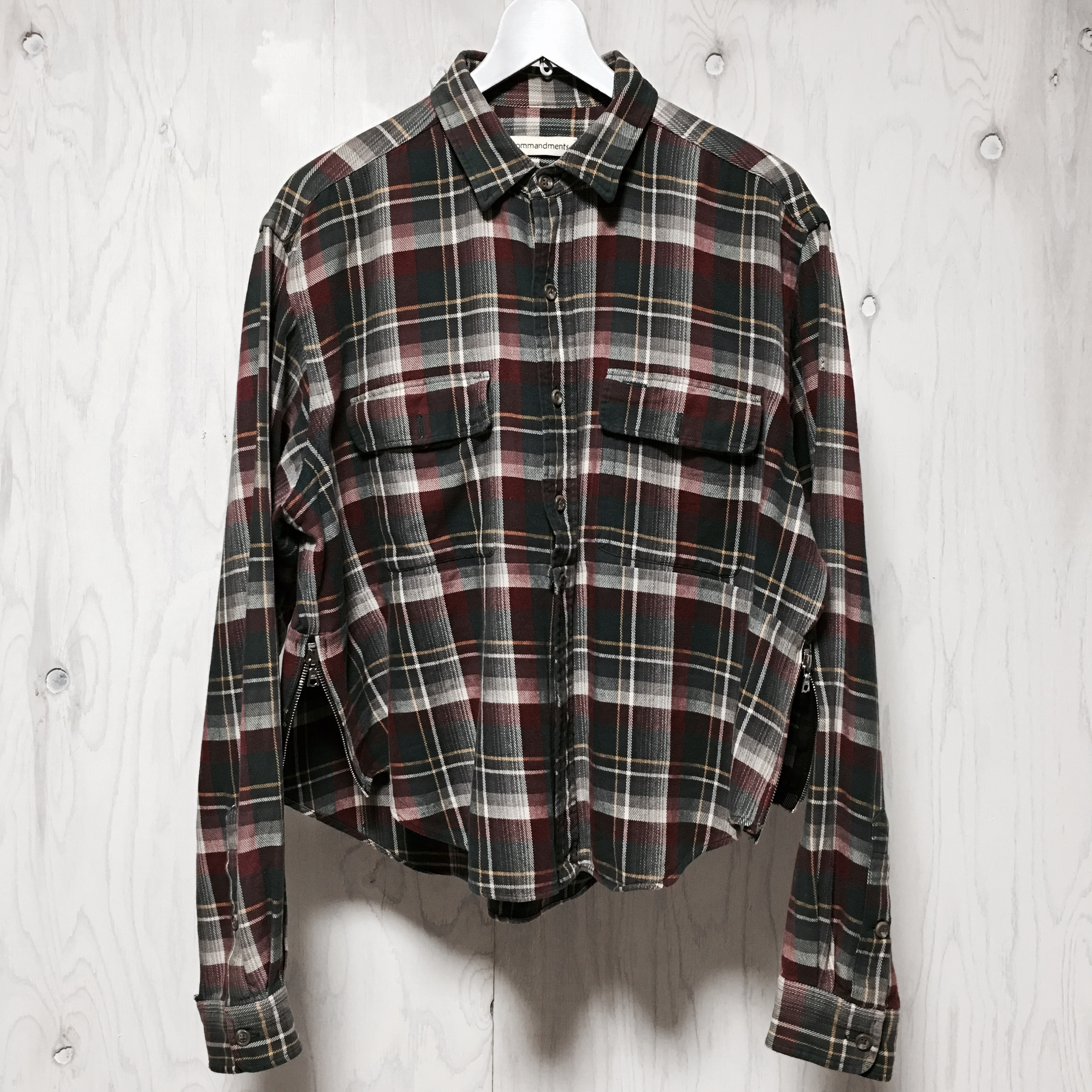Square side zip plaid shirt