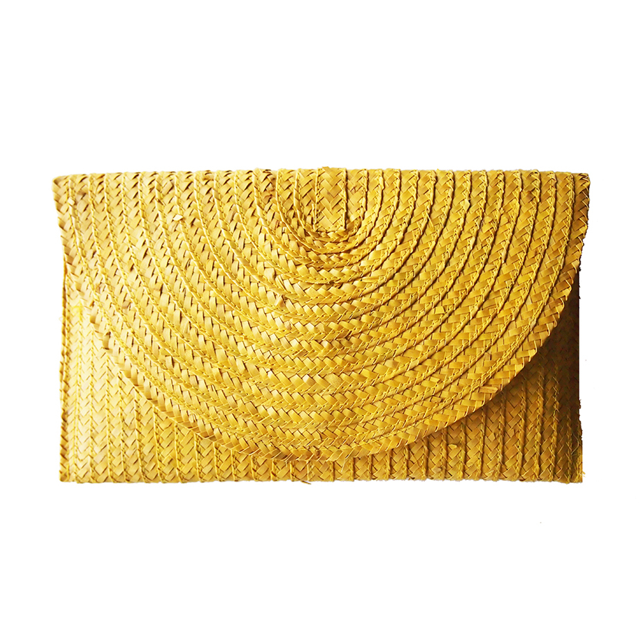 CHANTEK Palm Reaf Clutch YELLOW