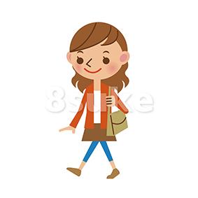 イラスト素材:歩く若い女性02(ベクター・JPG)