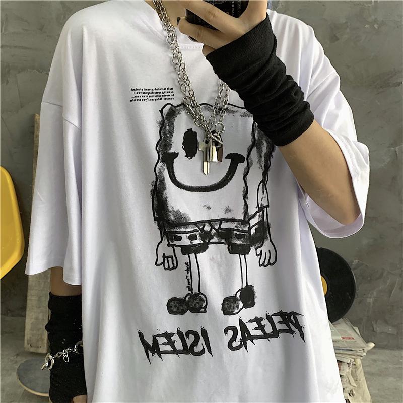 ユニセックス Tシャツ 半袖 メンズ レディース ラウンドネック 落書き風 ダークインク プリント オーバーサイズ 大きいサイズ ルーズ ストリート