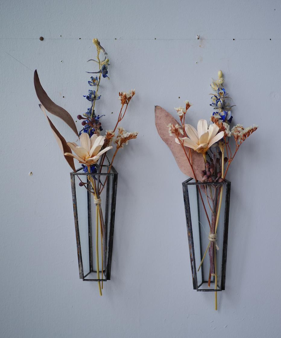 お在庫2点◆植物器:trapezium vase〚ユーカリ ・デルフィニウム・スターチス・アネモネフラワー〛