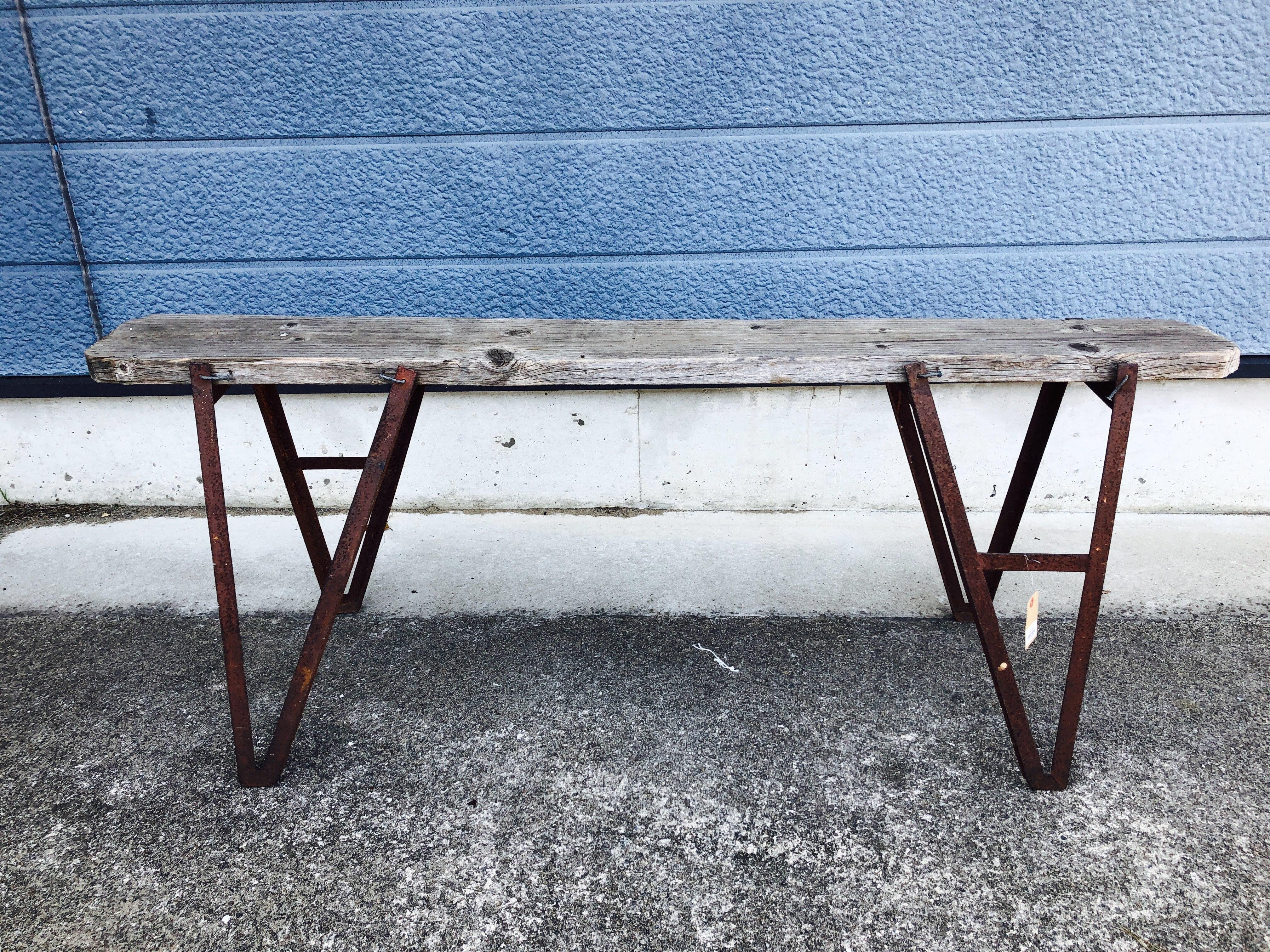 品番2574 ウッドテーブル 古木 オールドウッドテーブル  アイアン脚 インテリア アンティーク