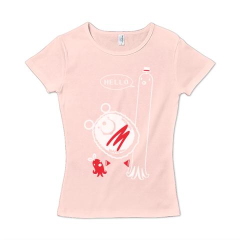 キャラT33 たこさんwinなー HELLO* レディースタイプ6.2オンス CVC フライス Tシャツ