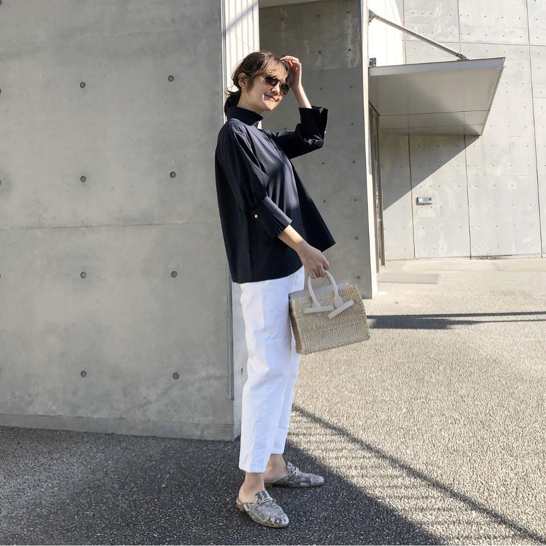 KU-UM×junko ドレッシープリーツシャツ ネイビー