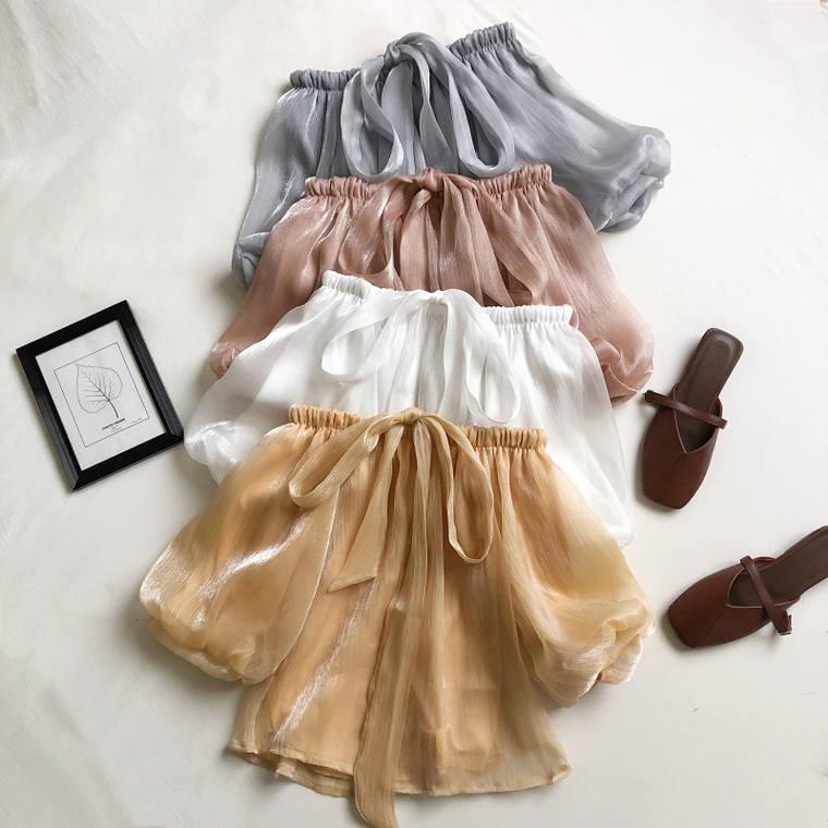 【送料無料】 カラー豊富♡ 7color 大人可愛い フェミニン ボリューム袖 オフショルダー リボン シフォン シャツ