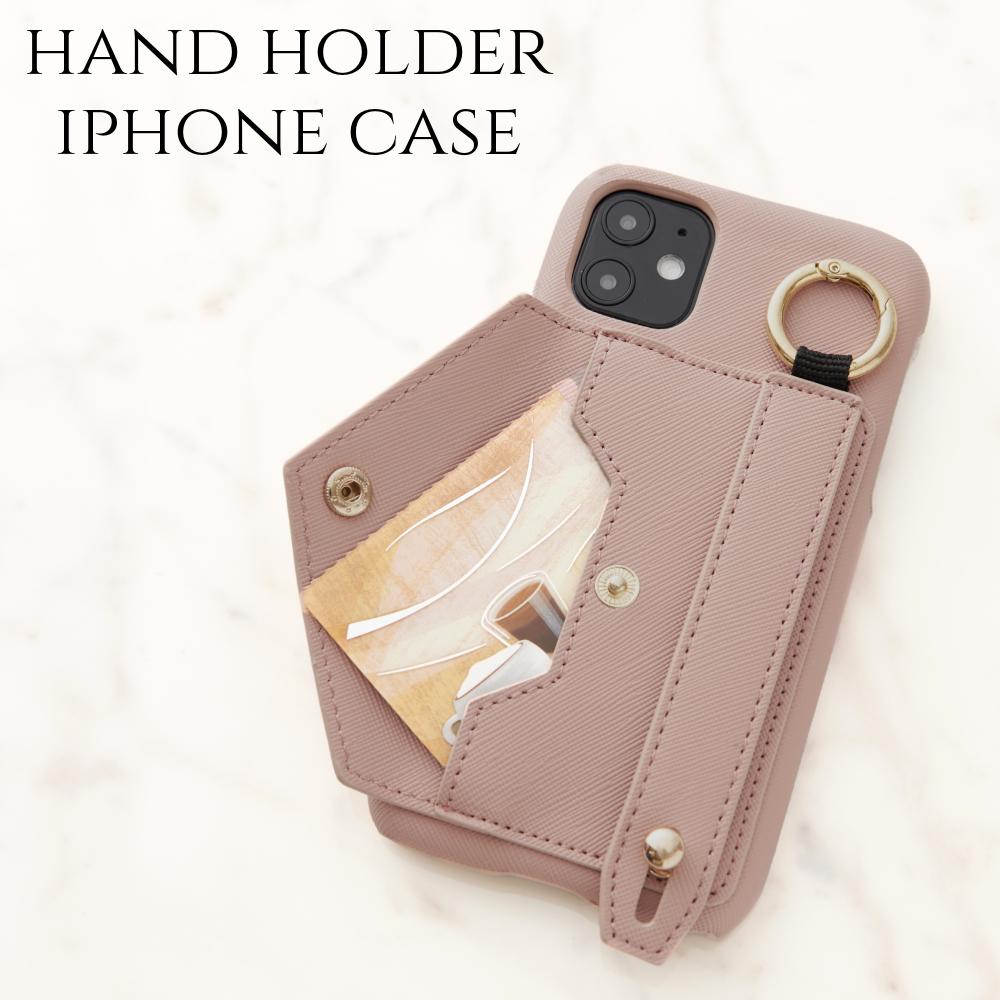iphone ケース かわいい バンド ホルダー iphone SE(第二世代) iphone11 おしゃれ iphoneXs XR iphone8 7 plus 大人 可愛い スマホケース レディース ピンクベージュ