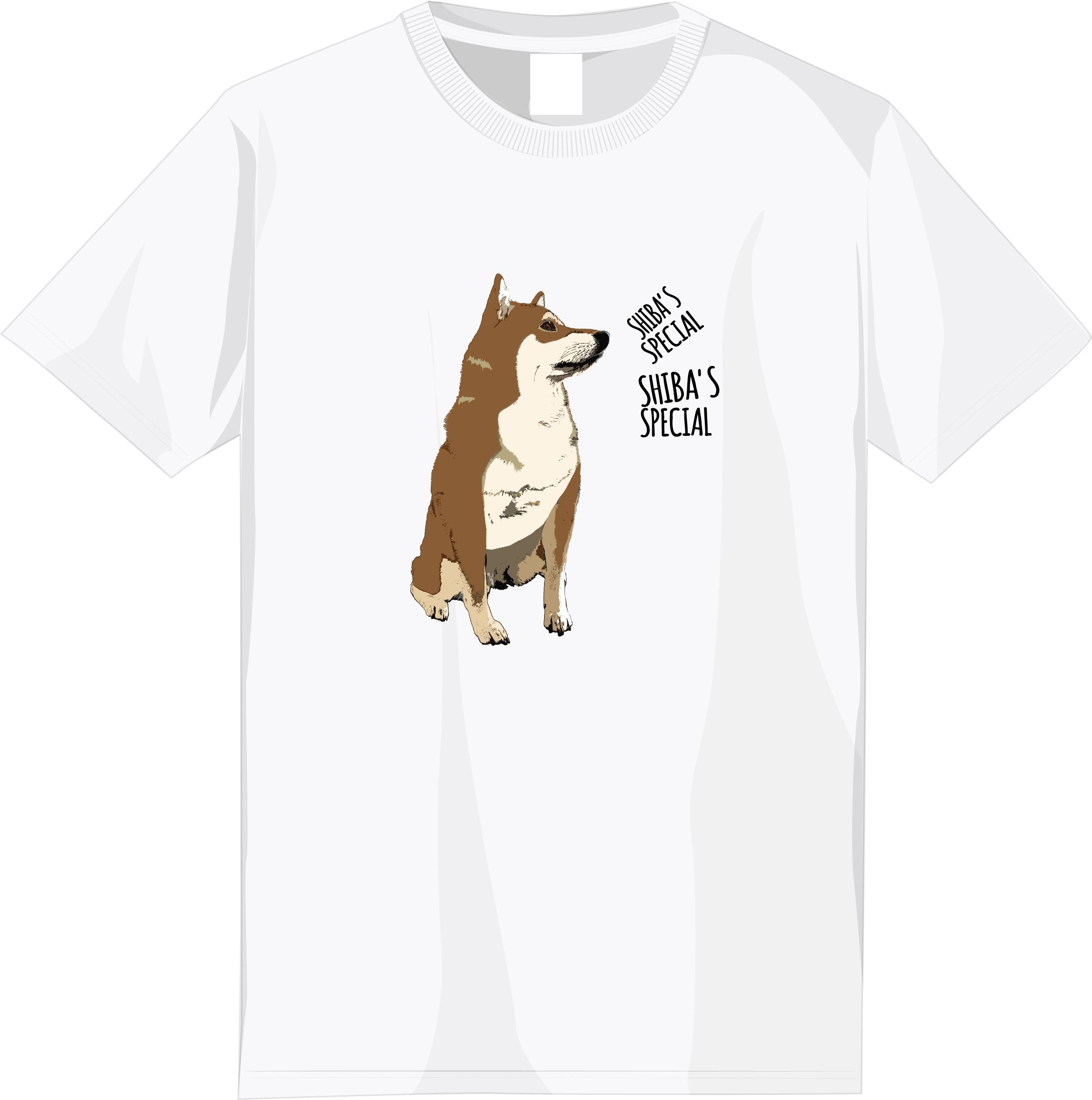 【期間限定受注】選べる全6種!フルカラー柴犬デザインTシャツ<③:赤柴文字ありタイプ>