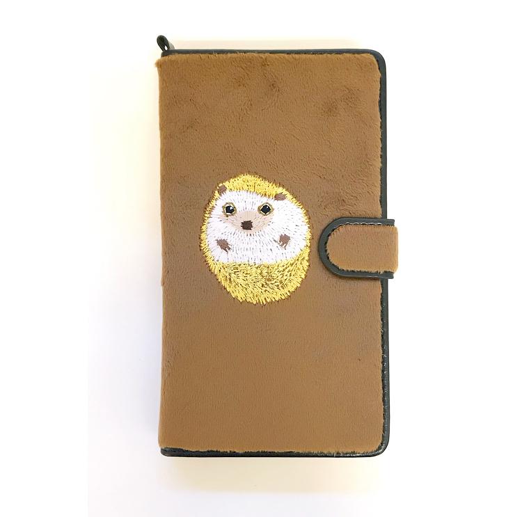 【再入荷】ハリネズミ手帳マルチスマホケース ブラウン