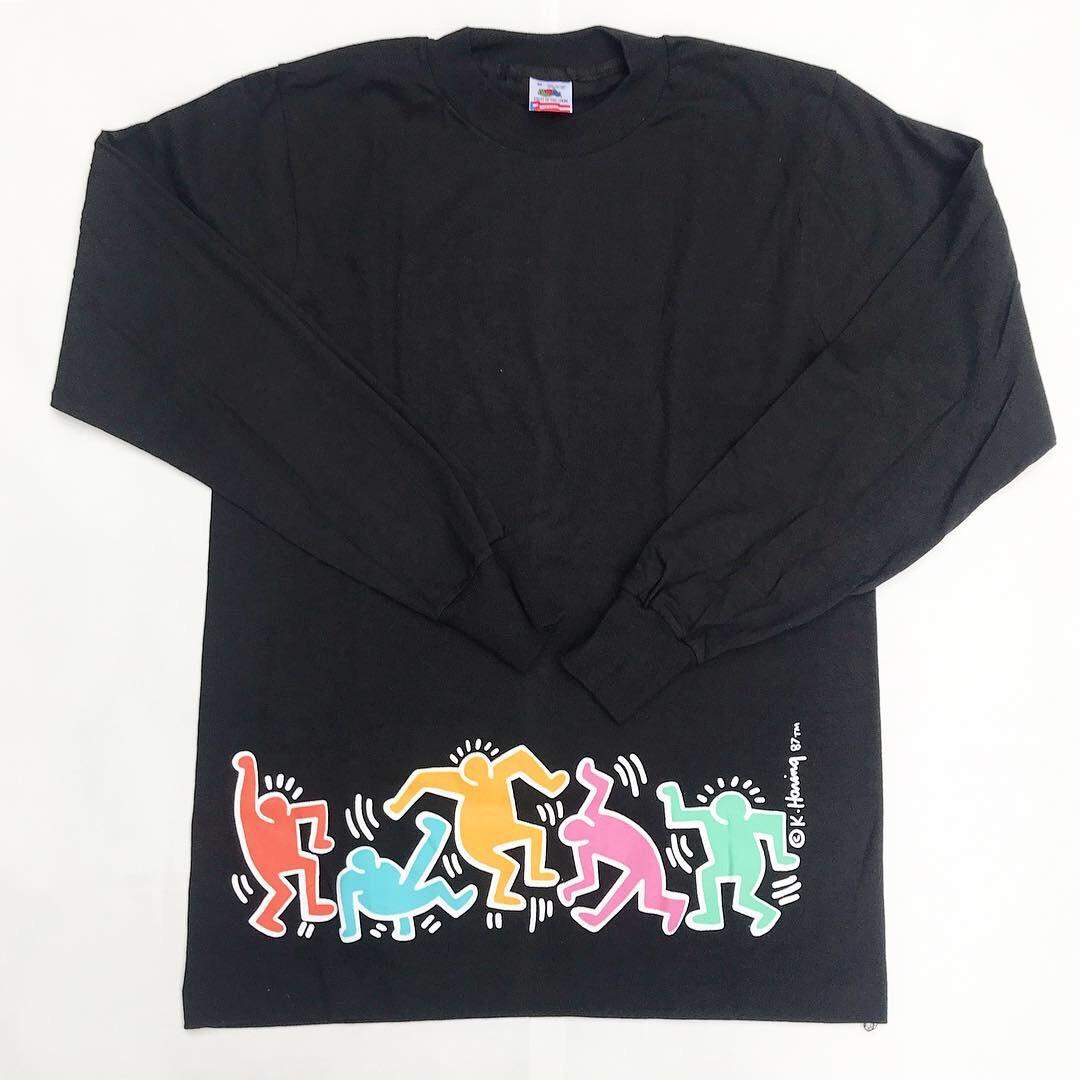 【80-90's /デッドストック】Keith Haring / キース・ヘリング  ロンT 黒 M