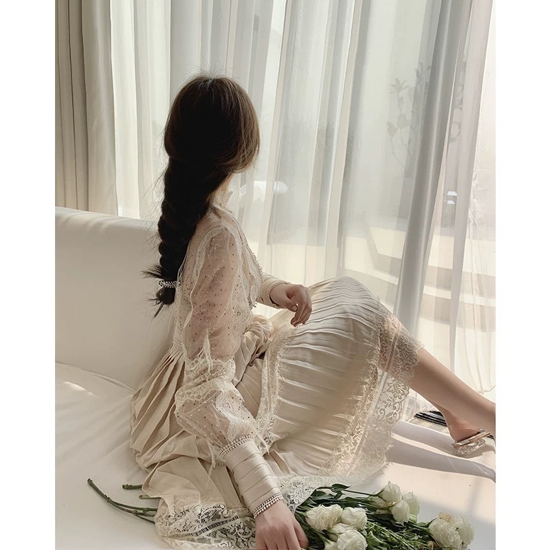 pleats pattern lace long dress