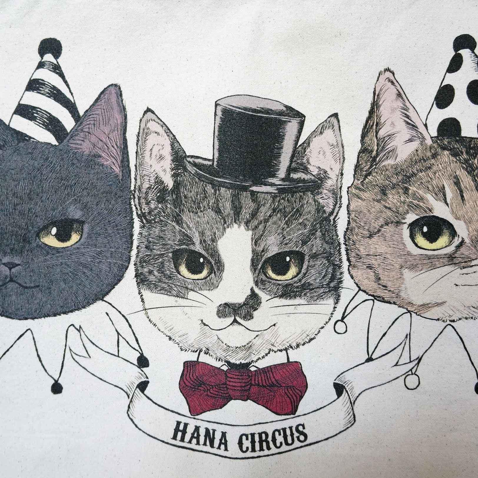 873f58e9c988 【送料無料】HANA circus original キャンバストートバッグ Lサイズ 猫 はちわれ キジトラ 黒猫