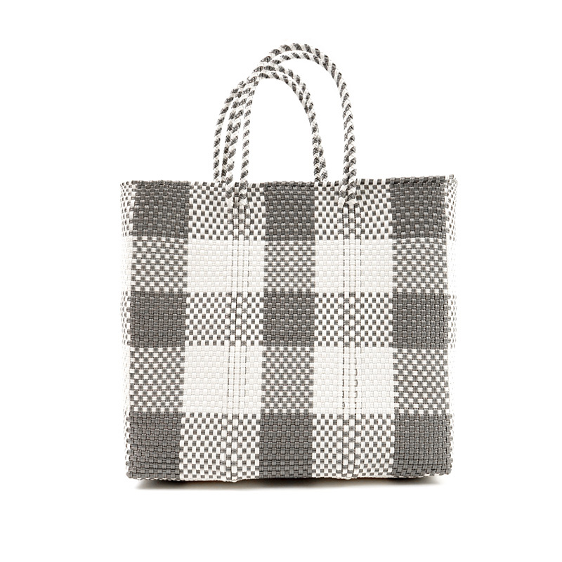 MERCADO BAG CHECK - Silver x White(M)