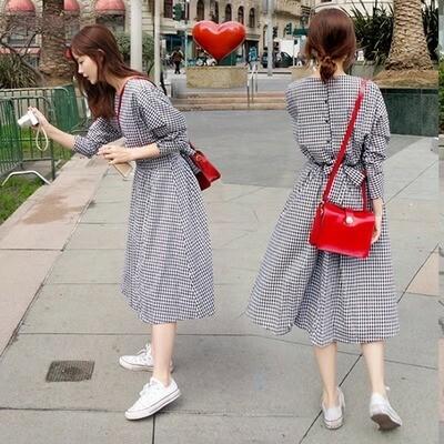 【dress】シンプルプルオーバーハイウエストボールガウンカジュアルワンピース18149703