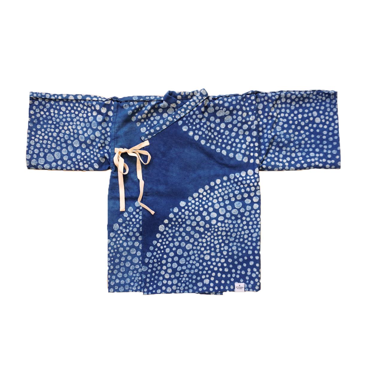 国産さらしを天然藍で染めた新生児用の産着(1点もの)ろ