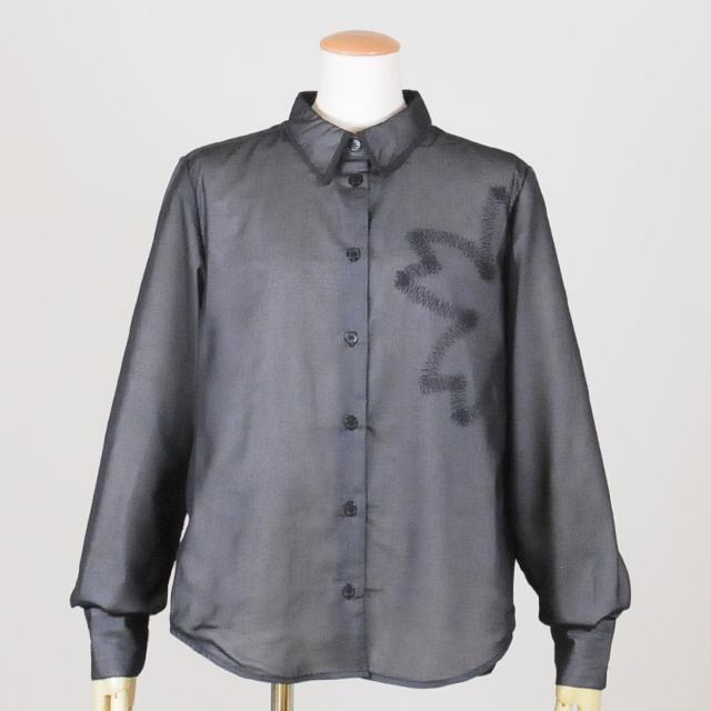 松葉の桜プリント入りシャツ/GGD25-H701 BK/M