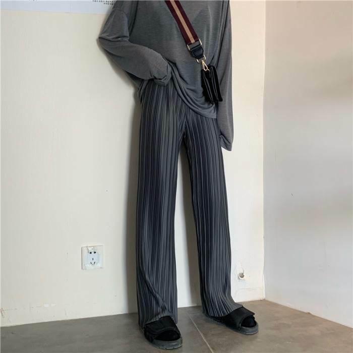 【送料無料】 大人っぽパンツ♡ プリーツ ワイドレッグ ストレート カジュアル パンツ ズボン