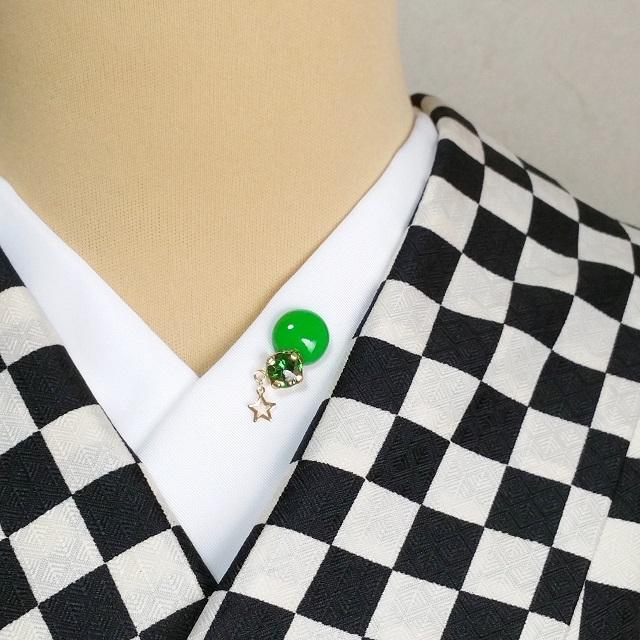ツヤピカビジュー【ポジュシリーズ】半衿ピン 【Lグリーン】※ネットショップ限定