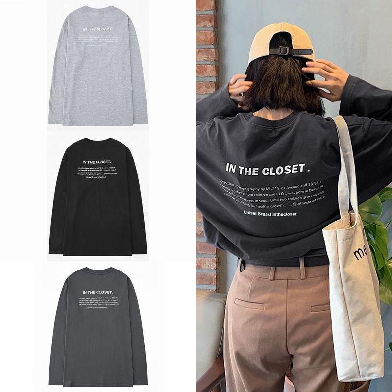 ユニセックス 長袖 Tシャツ メンズ レディース 英字 プリント ラウンドネック オーバーサイズ 大きいサイズ ストリート