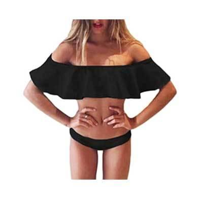 《スペシャルプライス》Off the Shoulder Bandeau Bikini (Black) (水着)